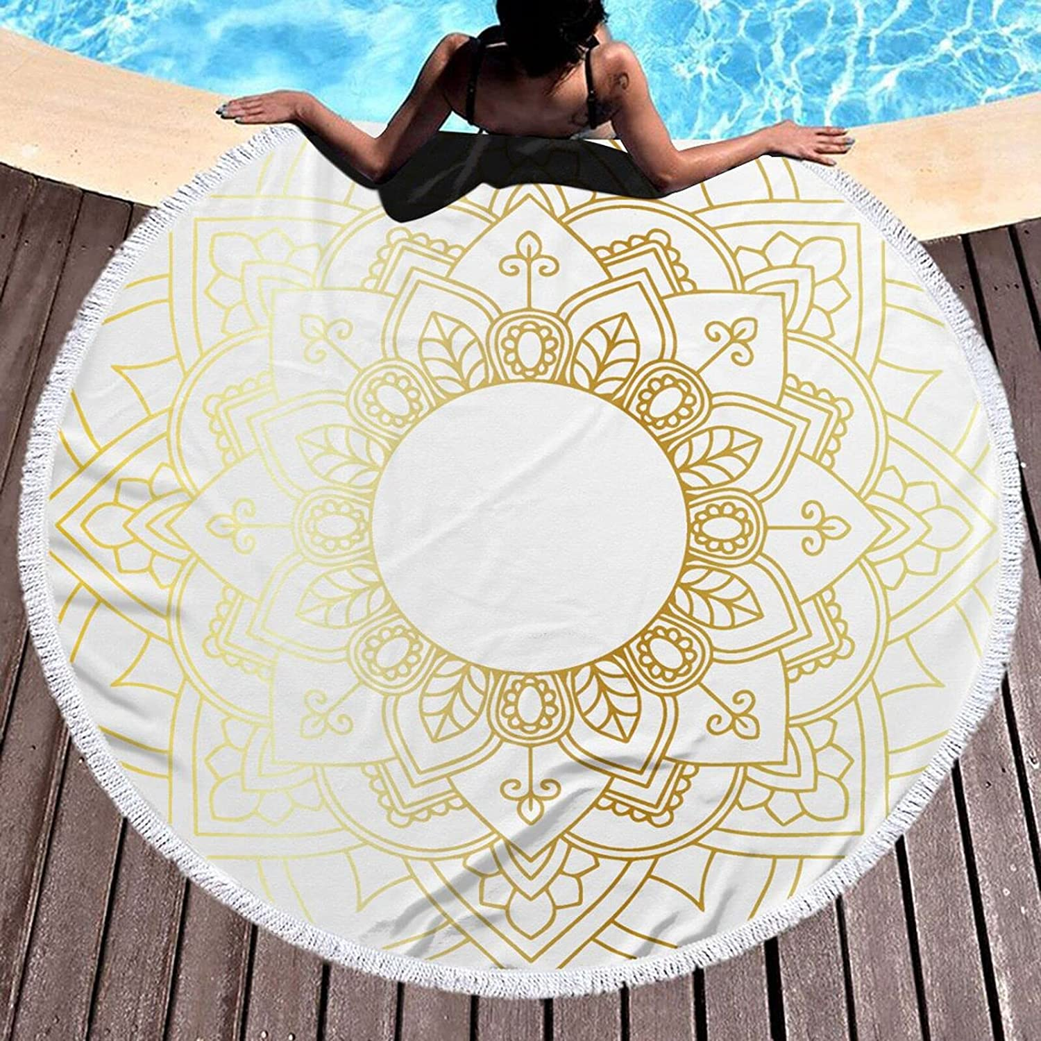 Bohemian Outstanding Goldenmicrofiber Round Large Towel Now free shipping Plush Blanket Beach