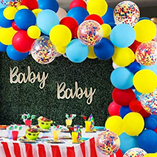 Carnival Circus Balloon Arch and Garland Kit - 105 Pack Red Blue Yellow Round Latex Balloons and Rainbow Multicolor Pre-Filled Confetti Balloon for Carnival Baby Shower Wedding Birthday Graduation Anniversary Bachelorette Party Background Decorations