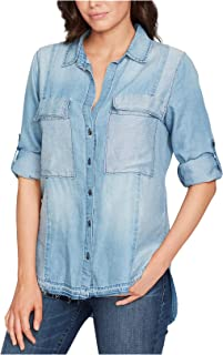 William Rast Women's Dalila Frayed Button-Down Denim Shirt