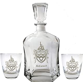 Family Crest Glass Decanter and Rocks Glass Gift Set