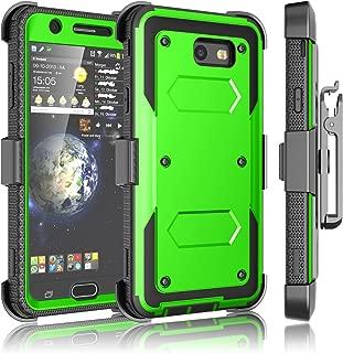 Tekcoo Galaxy J7 Sky Pro Case, Tekcoo Galaxy J7 V/J7V/J7 Perx Holster Clip, [TShell] [Built-in Screen] Locking Secure Swivel Belt Kickstand Phone Cover Full Body Case Cover For Samsung J7 2017 [Green]