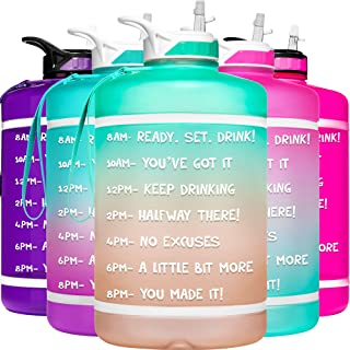 HydroMATE Gallon Motivational Water Bottle with Time Marker with Straw and Handle Large Reusable BPA Free Leak Proof Jug T...