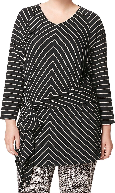 Marina Rinaldi Women's Vanda Striped Tunic Blouse, Black