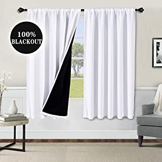 WONTEX 100% White Blackout Curtains for Bedroom 52 x 63 inch Length - Thermal Insulated, Noise Reducing, Sun Blocking Lined Rod Pocket Window Curtain Panels for Living Room, Set of 2 Winter Curtains
