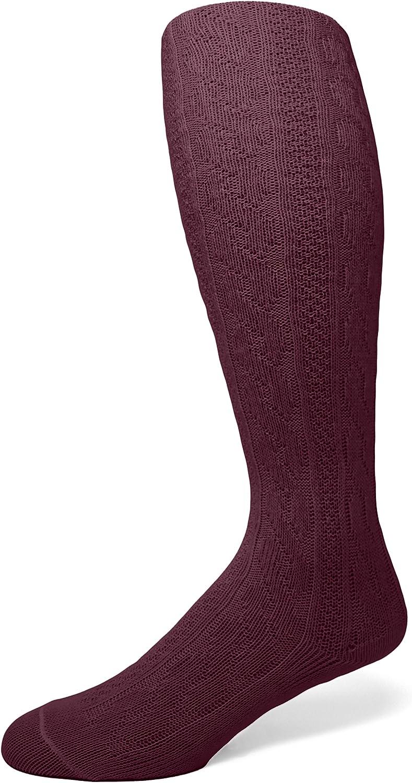 EMEM Apparel Girls' Kids Children's Cable Knit Opaque School Uniform Sweater Winter Tights Hosiery Stockings Wine 12-14