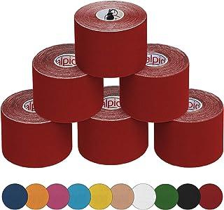 ALPIDEX 6 Rollos Kinesiología Tape 5 m x 5,0 cm Kinesiología Tape en 11 Colores Quinesiología Cinta Elástica Banda Fisioterapia, Color:Rojo