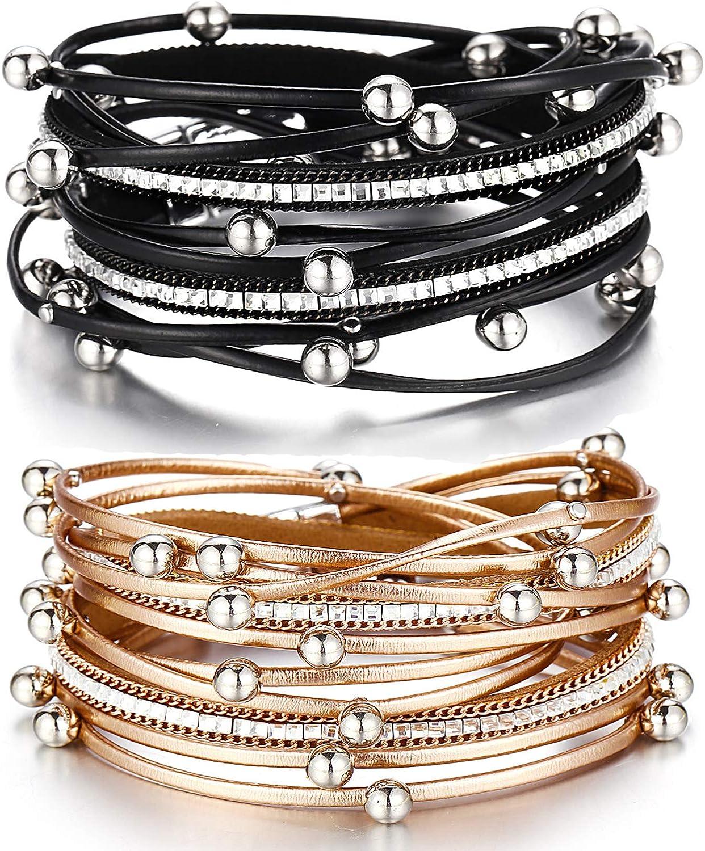 AOASK 2pcs Womens Leopard Leather Cuff Bracelet Multi Strands Wrap Bracelets Rhinestone Strand Bangle Jewelry Birthday Gift for Women Teen Girls Prime