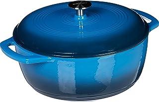 AmazonBasics - Horno holandés de hierro fundido esmaltado, 7 L, Azul