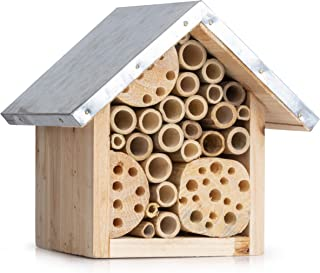 Natural Bee Hive House for Outdoor Garden - Attracts Native Pollinator Bees Like Mason, Solitary, Carpenter, Orchard, Honey and Ladybugs - Insect Habitat Starter Kit - Bug Hotel to SAVE THE BEES