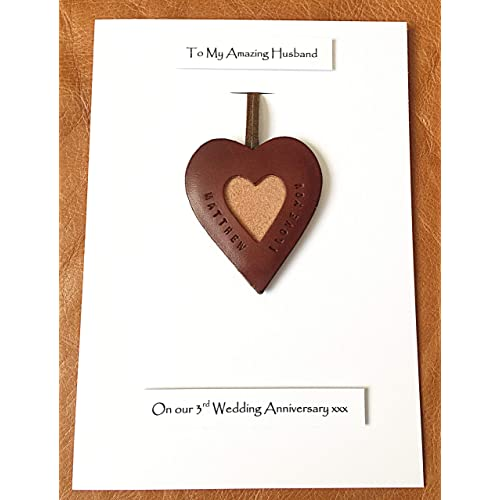 a2afb0378a7b 3rd Wedding Anniversary Personalised Leather Heart Leather Gift Card  Husband Wife - A5 size Card -