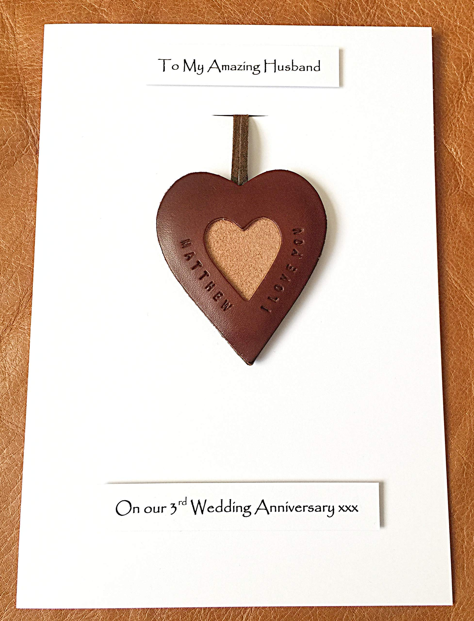 3rd Wedding Anniversary Personalised Leather Heart Leather Gift Card Husband Wife - A5 size Card - & Leather Wedding Anniversary Gifts: Amazon.co.uk