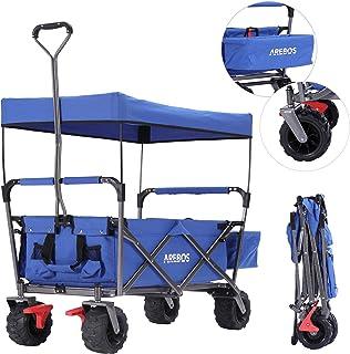 Arebos Bollerwagen Faltbar mit Dach | Handwagen | Klappbar | Gerätewagen | Blau