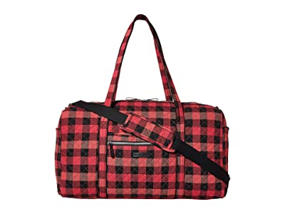Vera Bradley Iconic Large Travel Duffel (Garnet Buffalo Check) Duffel Bags