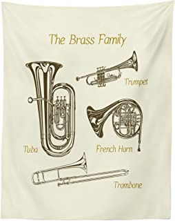 Lunarable Music Tapestry Twin Size, Brass Family Instruments Drawing of Tuba Trumpet Trombone and French Horn, Wall Hanging Bedspread Bed Cover Wall Decor, 68