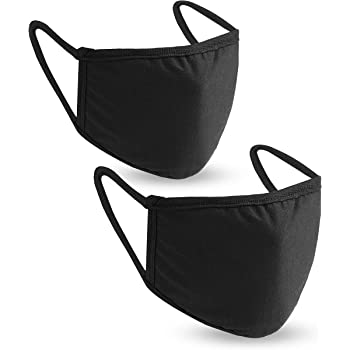 Face Mask Reusable Pack of 2 Washable Black Dust Cotton Masks Face Protection Cover with Pocket