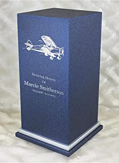 PERSONALIZED Engraved Air Plane Pilot Cremation Urn for Human Ashes -Made in America-Handcrafted in the USA by Amaranthine Urns- Eaton SE- Adult Funeral Urn-up to 200 lbs living weight (Deep Sea Blue)