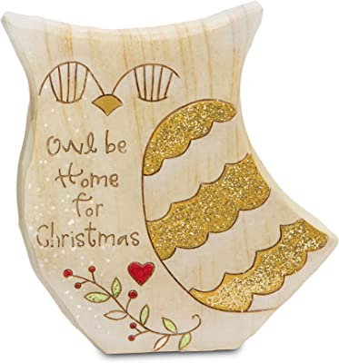 Heavenly Winter Woods Pavilion Gift Company 78514 Owl Be Home for Christmas Figurine, 4-Inch