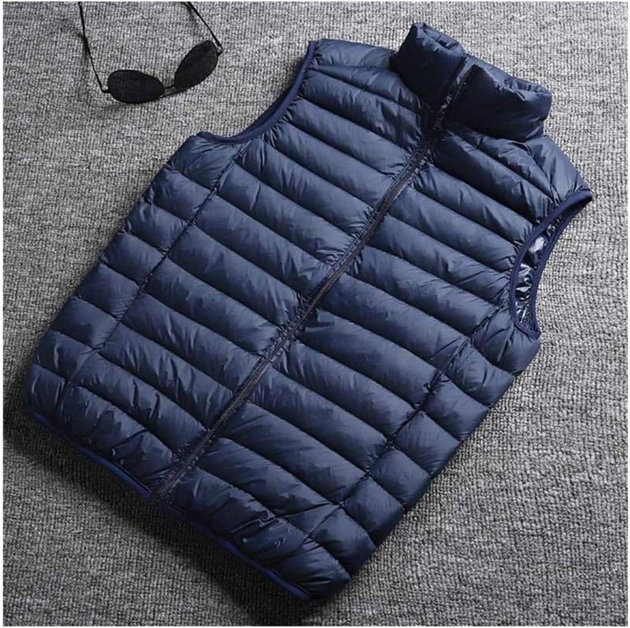 Winter Men White Duck Down Vest Ultralight Sleeveless Vest Jacket Stand Collar Men Large Size Loose Vest (Color : Dark Blue, Size : XL.)