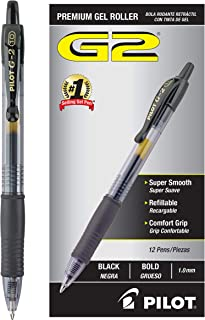 PILOT G2 Premium Refillable & Retractable Rolling Ball Gel Pens, Bold Point, Black Ink, Dozen Box (31256)