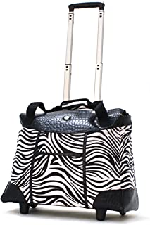 Deluxe Fashion Rolling Tote, Zebra, One Size