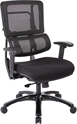 Office Star Breathable Black Vertical Mesh Back and Padded Coal FreeFlex Mesh Seat Managers Chair with Adjustable Arms and Polished Black Accents