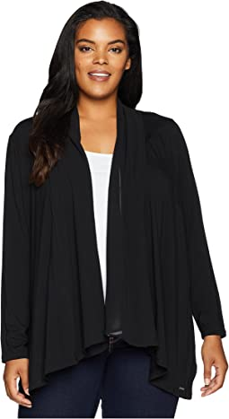 Plus Size Open Cardigan w/ Chiffon
