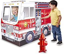 Melissa & Doug Fire Truck Indoor Corrugate Cardboard Playhouse (4 Feet Long, Great Gift for Girls and Boys - Best for 3, 4, 5 Year Olds and Up)