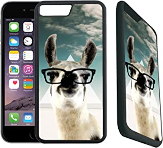 [TeleSkins] - Rubber Designer Case For iPhone 7 Plus / iPhone 8 Plus - Hipster Llama Geek Glass - Ultra Durable Slim Fit, Protective Plastic with Soft RUBBER TPU Snap On Back Case / Cover.