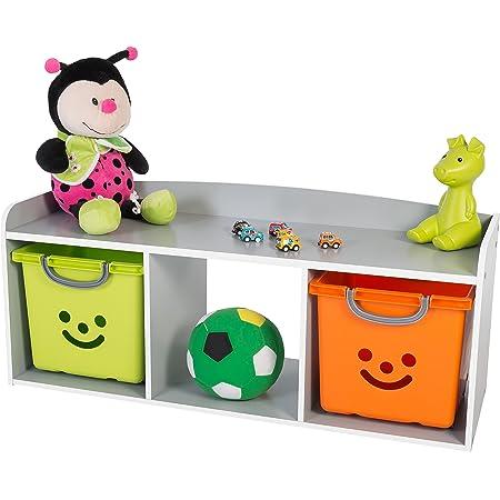 Iris Ohyama Meuble à jouets/Banc de rangement pour enfants - Kids Bench KBN-3 - Bois, Gris, L101.4 x P34 x H43.4 cm