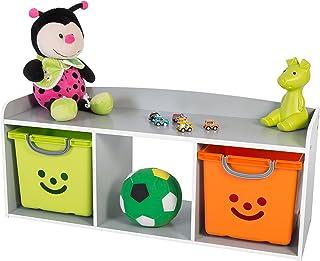 Meuble à jouets / Banc de rangement pour enfants - Kids Bench KBN-3 - Bois, Gris, L101.4 x P34 x H43.4 cm