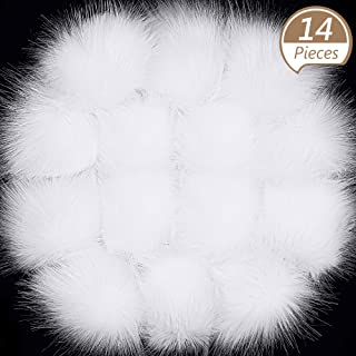 Tatuo Faux Fur Pom Pom Ball DIY Fur Pom Poms for Hats Shoes Scarves Bag Pompoms Keychain Charms Knitting Hat Accessories (White, 14)