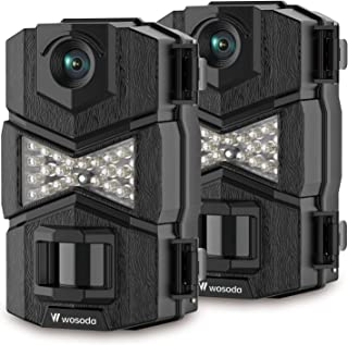 WOSODA 16MP 1080P Trail Camera, with Upgraded 850nm IR LEDs Night Vision 260ft Wildlife Camera, 2.0''LCD for Home Security Wildlife Monitoring/Hunting (2Black)