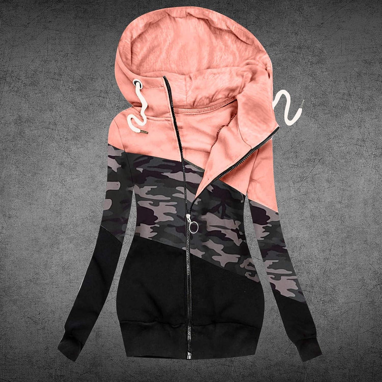SomeTeam Damen Kapuzenpullover Winter Langarm Hoodie Pullover Baumwoll Zipped Sweatshirt Winterjacke Mantel High Neck Outwear mit Reißverschlusstasche Rose 3