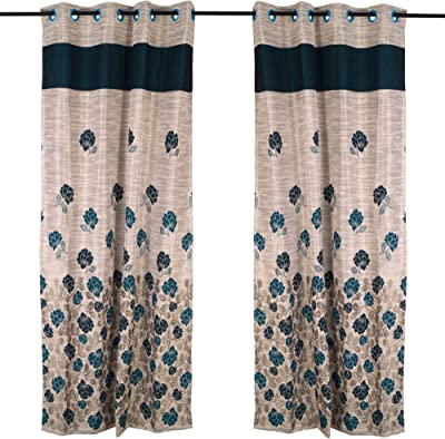 Story@Home Berry Premium Jacquard 1 Piece Door Floral Eyelet Curtain, 7 feet, Green