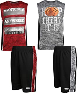 Hind Boys 4-Piece Matching Performance Athletic Shirt and Short Sets