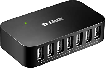 D-Link 7-Port USB 2.0 Hub including 7 Fast Charging Ports, mini USB 2.0 Port and 5V/3A Power Adapter (DUB-H7)