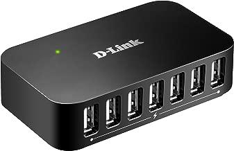 D-Link 7-Port USB 2.0 Hub including 7 Fast Charging Ports, mini USB 2.0 Port  and 5V/3A Power Adapter (DUB-H7)