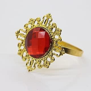 AngHui ShiPin 10pcs Red Diamond Gem Napkin Ring Serviette Holder Wedding Party Dinner Table Decoration Favor For Christmas Table