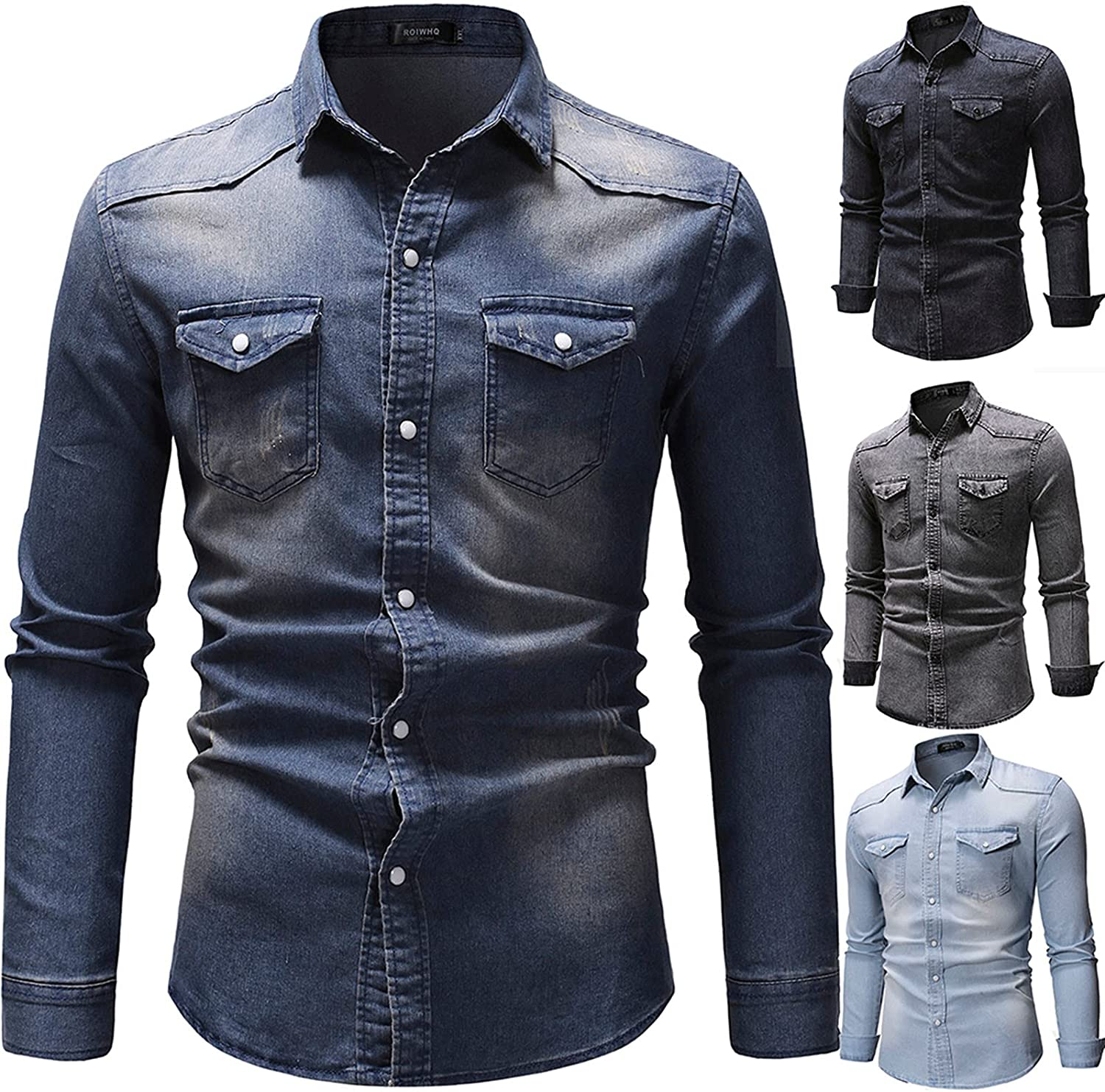 xoxing Long Sleeve for Men Casual Plus Size Loose Camouflage Lapel Retro Buttons Pocket Denim Top Blouse Pullover