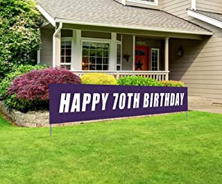 Blue Happy 70th Birthday Banner, Large 70th Birthday Party Sign, 70 Bday Party Supplies Decorations