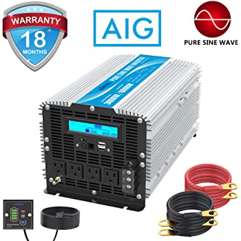 Pure Sine Wave Inverter 800Watt 24V DC to 110V 120V Power Inverter with Remote Control Dual AC Outlets for CPAP RV Car Solar System