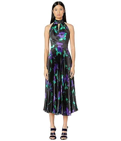 Milly Pleated Adrianna Dress (Black/Royal) Women