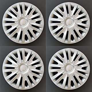 MARROW New Wheel Covers Replacements Fits 2010-2014 Volkswagen Golf/2012-2013 Volkswagen Golf R, 15 Inch; 9 Split Spoke; Silver Color; Plastic; Set Of 4; Spring Steel Clip