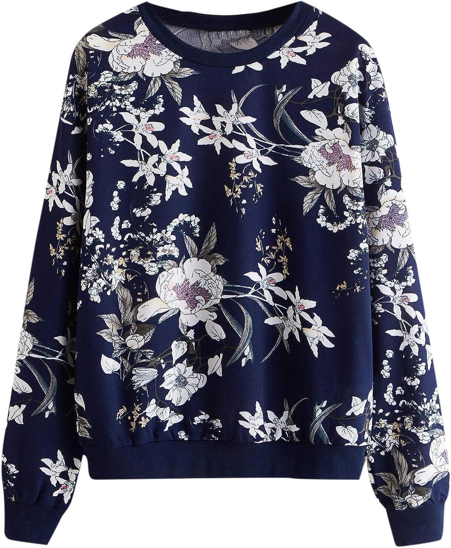 Romwe Women's Casual Floral Print Long Sleeve Lightweight Sweatshirt Pullover