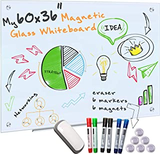 Glass Whiteboard for Wall - 60x36 Frameless Magnetic Dry Erase Board with 6 Markers for Glass, 6 Magnets Board and Eraser ...