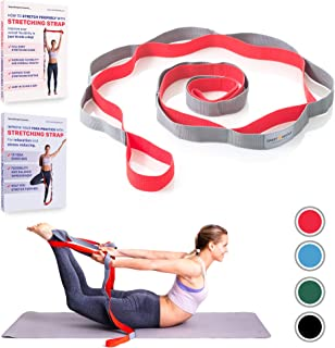 Stretching Strap for Yoga and Rehabilitation or Laminated Stretch Poster with Exercises
