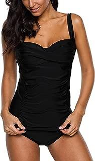 Women's Ruched Solid Two-Piece Swimsuit Tankini Set Swimwear