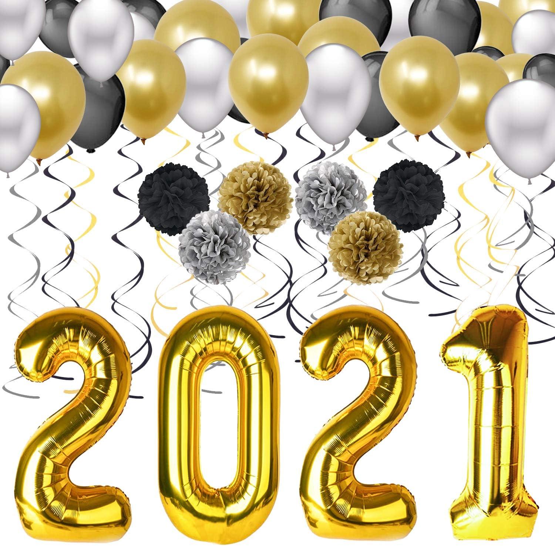 Graduation Party Supplies –40'' 2021 Foil Gold Ballooons Bl