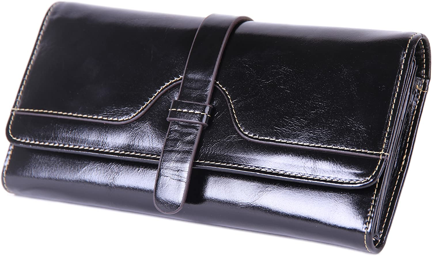 Borgasets Womens Leather Purse Ladies Trifold Wallets With ID Card Holder
