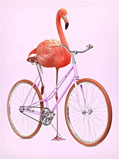 Bilderwelten Pizarra magnética - Flamingo with Bicycle 40x30cm